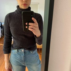 Vintage dark gray chenille turtleneck sweater top